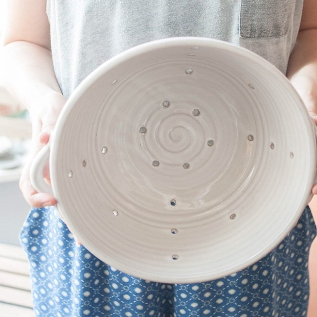 Handmade Ceramic Colander from Gather, in Cary NC