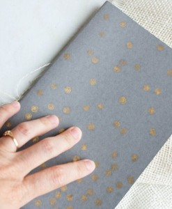 Gray Journal with Copper Polka Dots