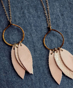 Leather Feather Necklace at Gather